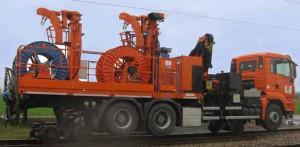 camion rail route derouleur catenaire