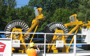 enrouleur cable catenaire sur wagon sncf novium